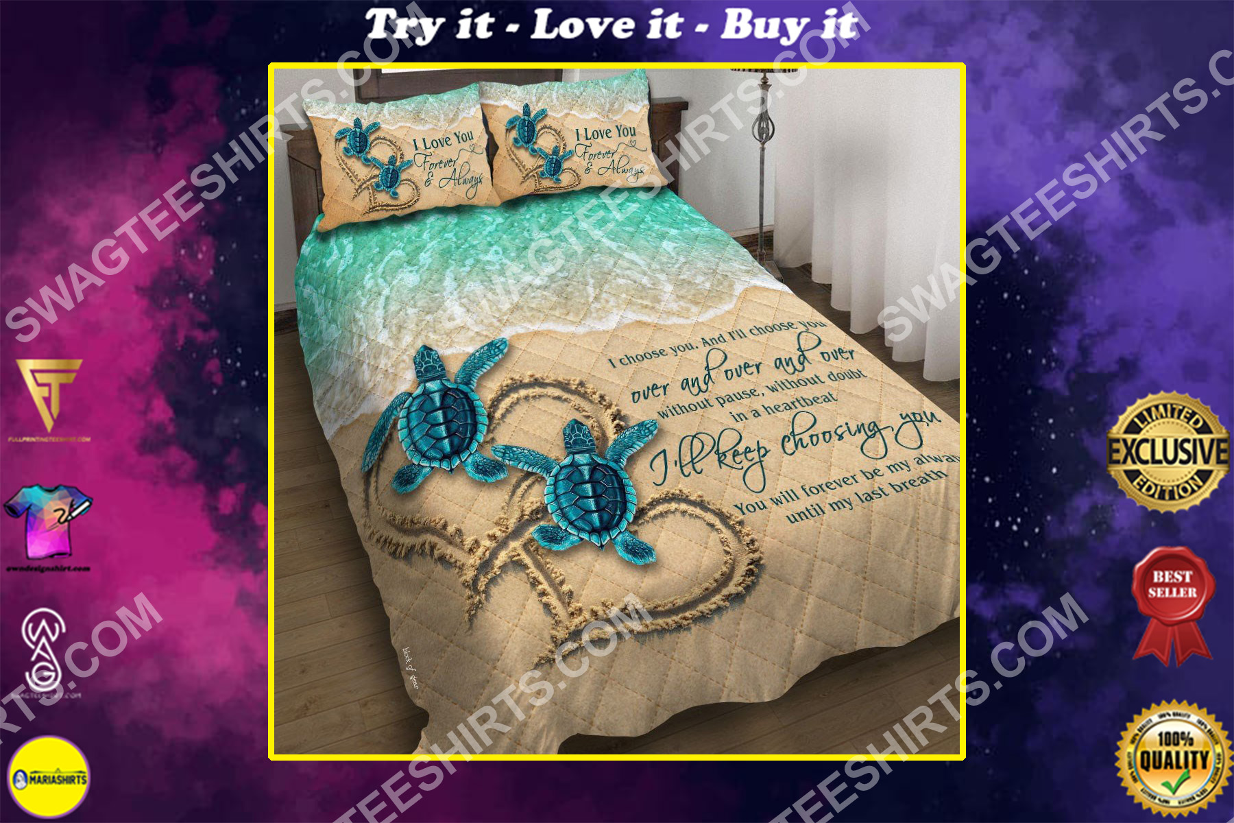 sea turtle ill keep choosing you all over printed bedding set