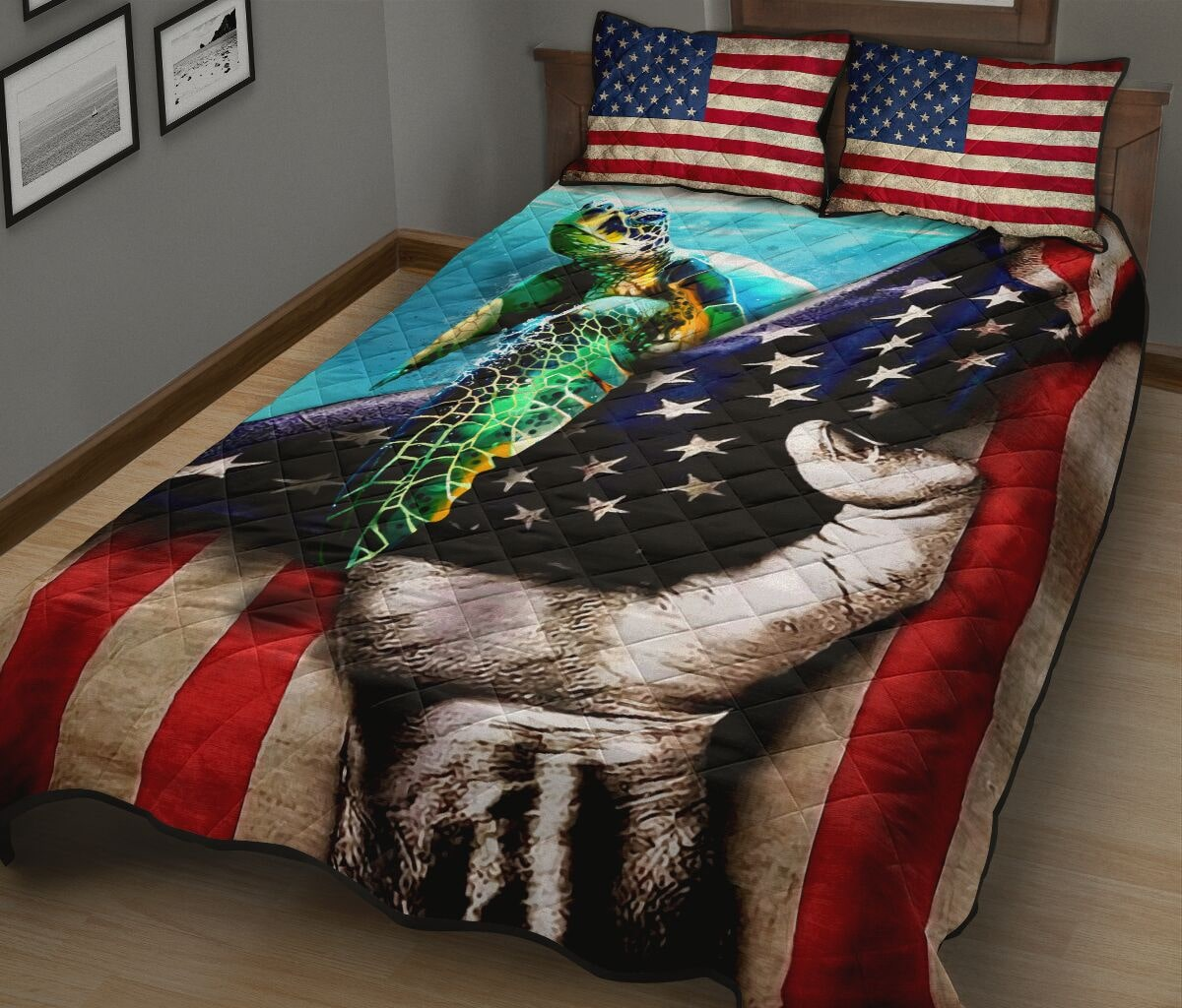 sea turtle in american flag full over print quilt 3