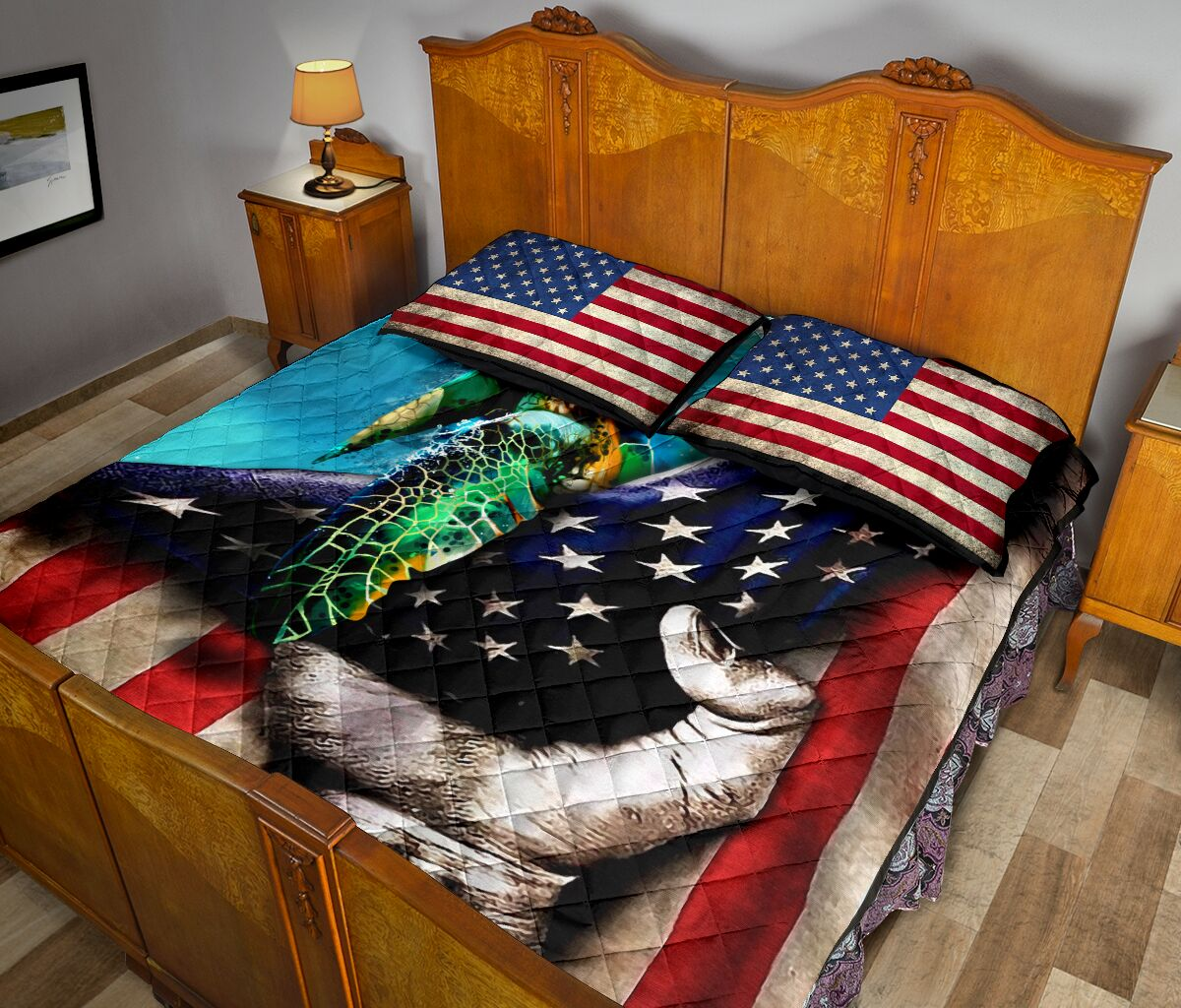 sea turtle in american flag full over print quilt 5