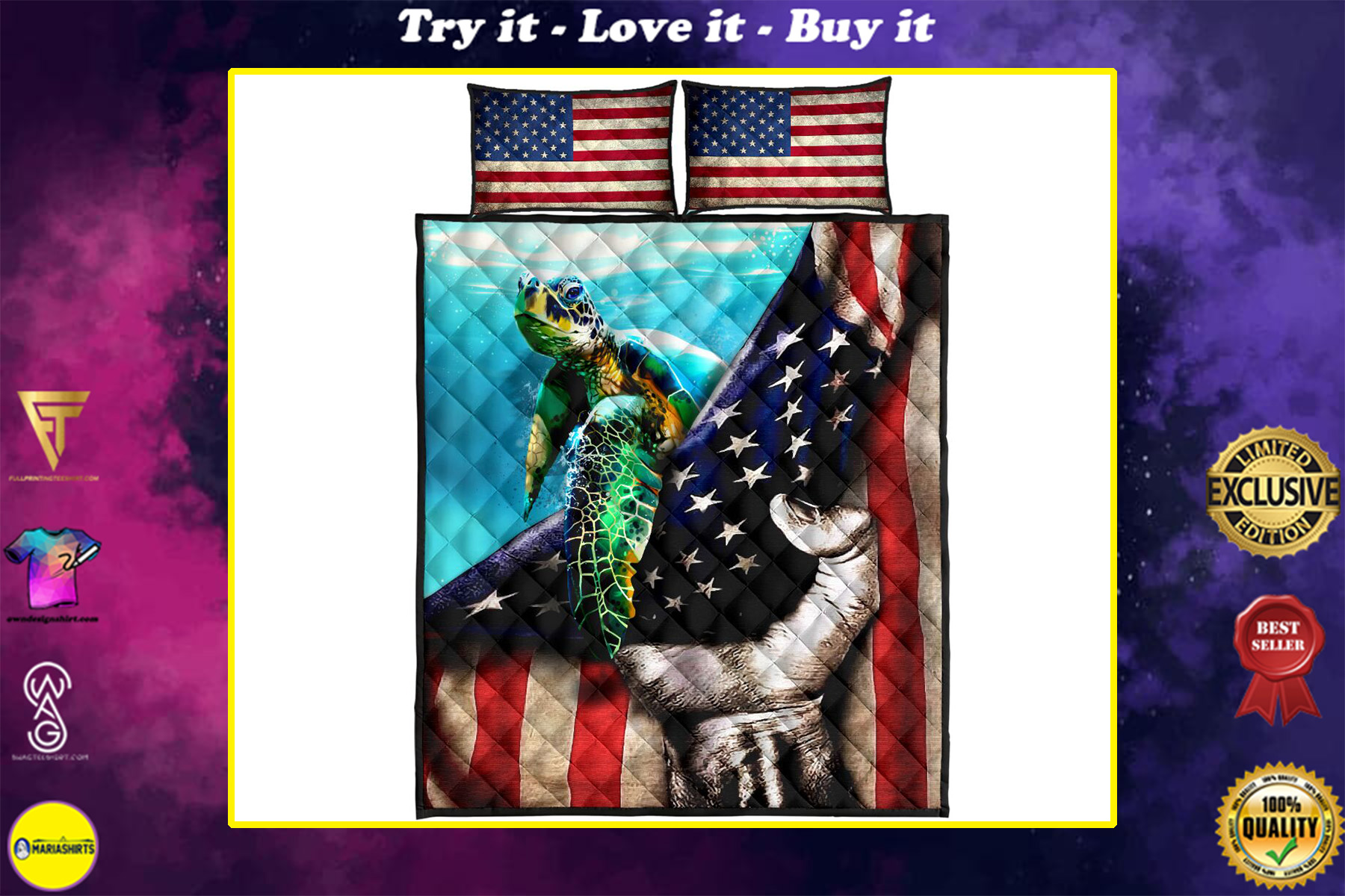 sea turtle in american flag full over print quilt