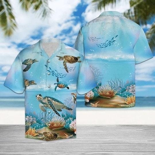 sea turtle in the ocean all over printed hawaiian shirt 2
