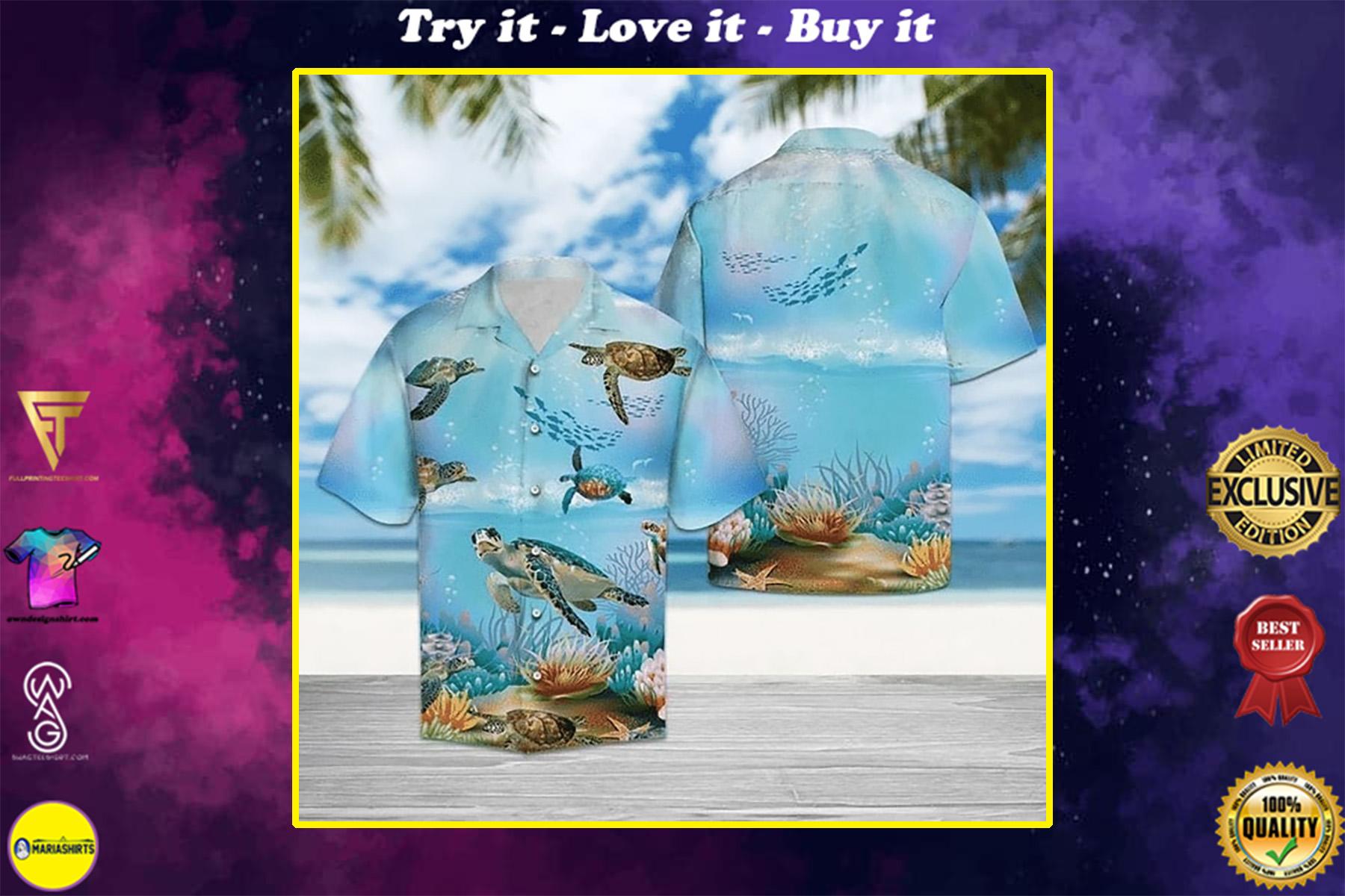 sea turtle in the ocean all over printed hawaiian shirt