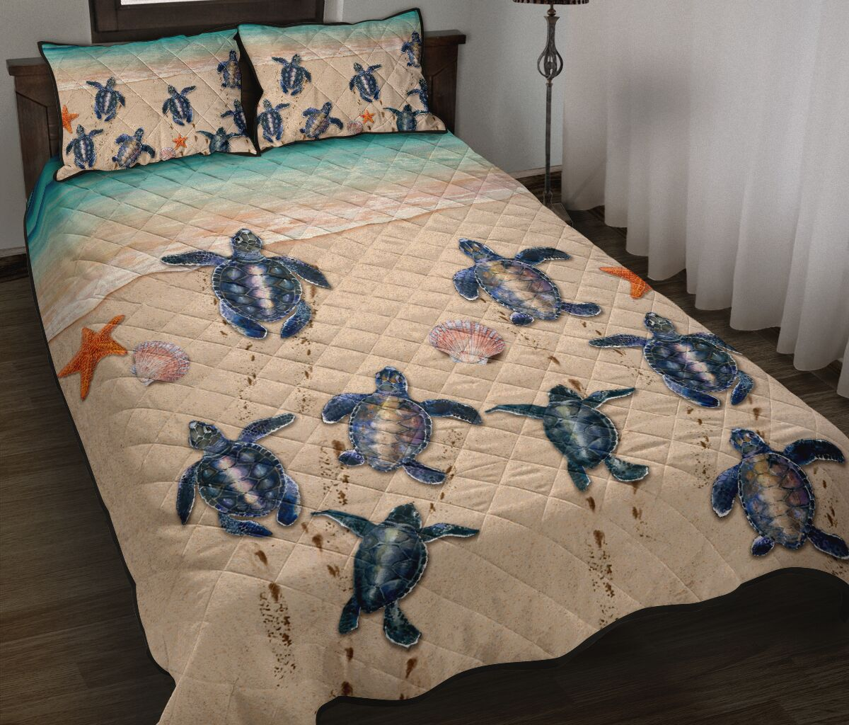 sea turtle on the beach full over print quilt 2