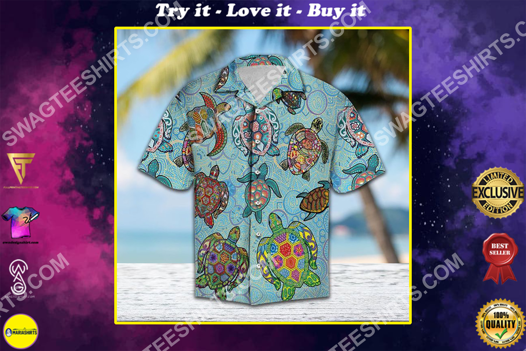 sea turtles day all over printed hawaiian shirt