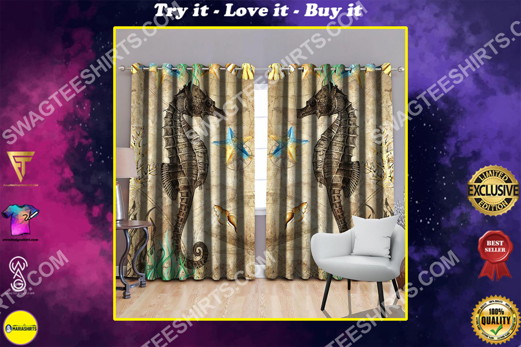 seahorse vintage all over printed window curtains