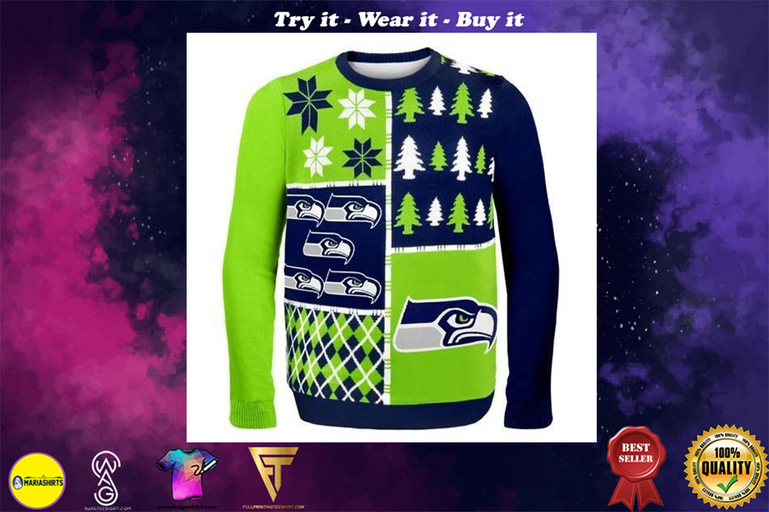 seattle seahawks busy block ugly christmas sweater