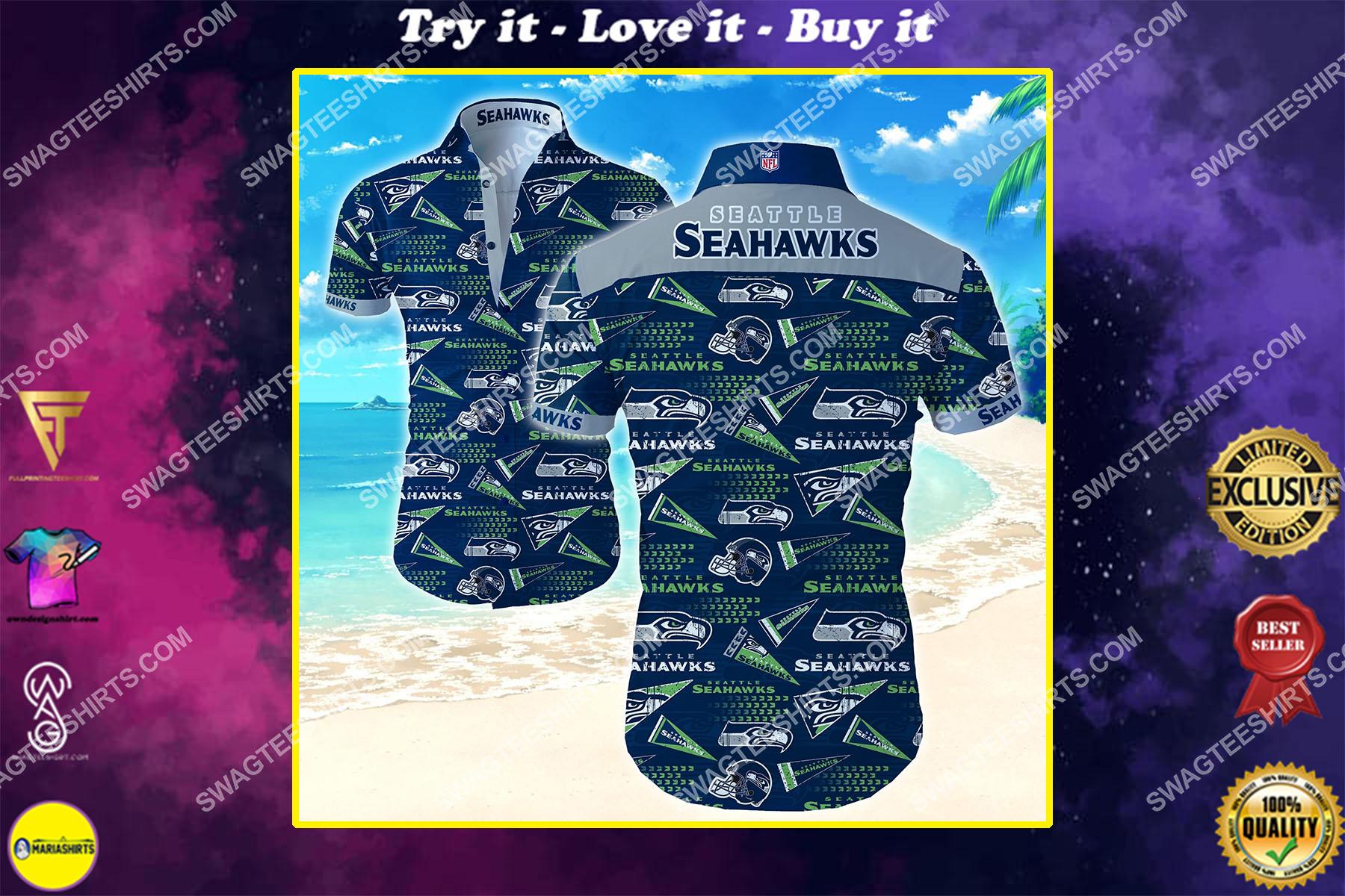 seattle seahawks football team all over print hawaiian shirt