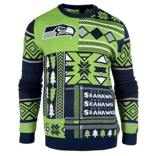 seattle seahawks patches ugly christmas sweater 1