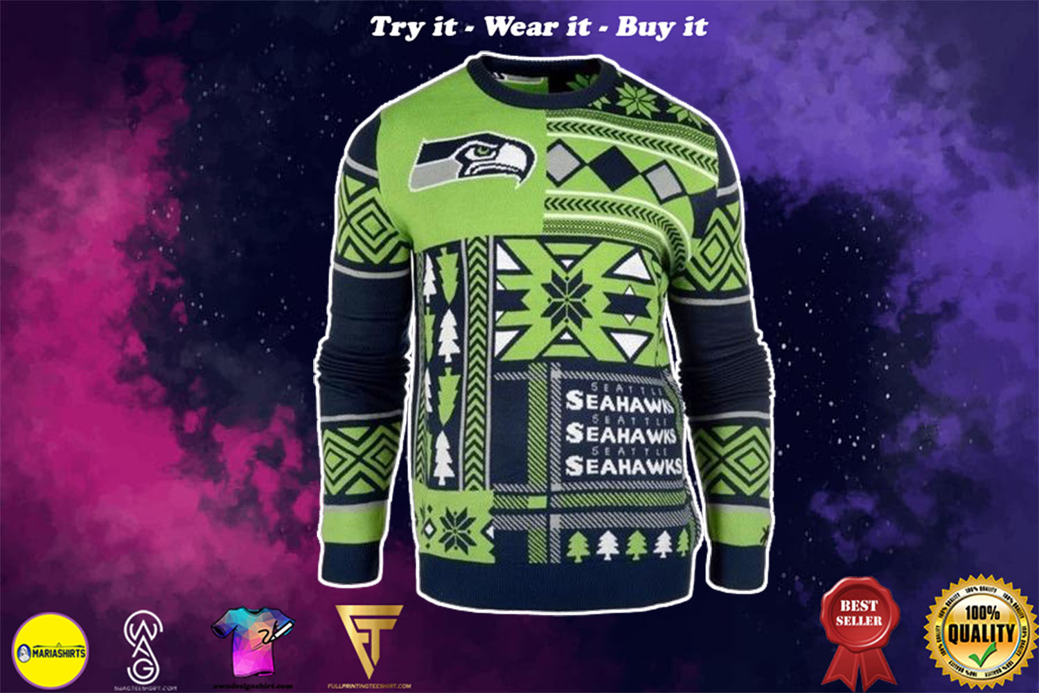 seattle seahawks patches ugly christmas sweater