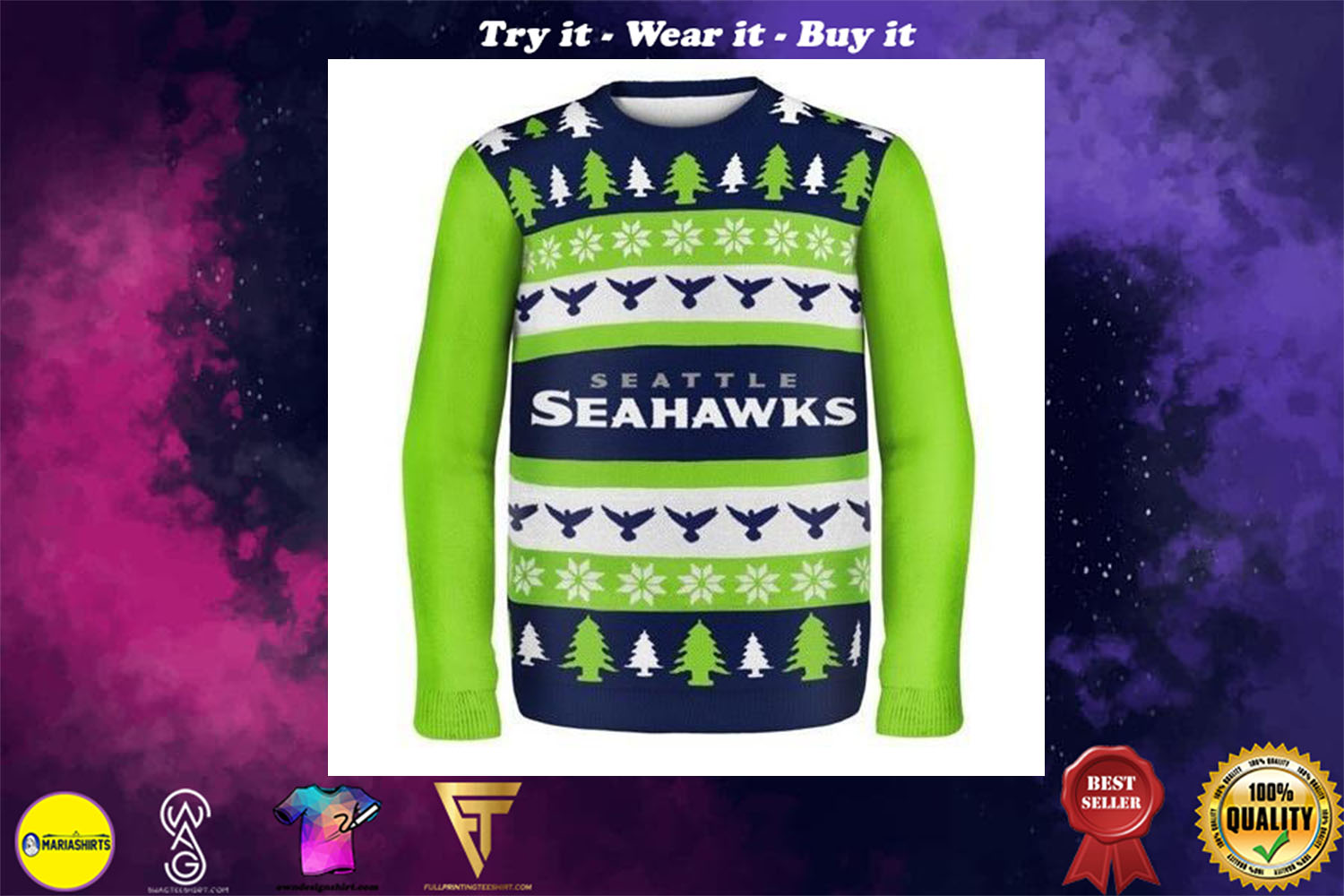 seattle seahawks ugly christmas sweater