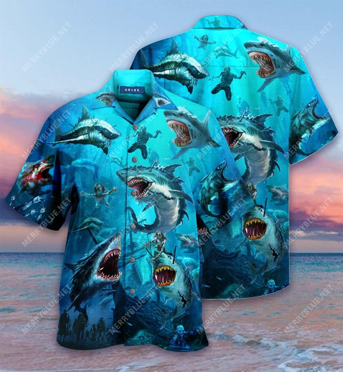 sharks and zombies all over printed hawaiian shirt 2