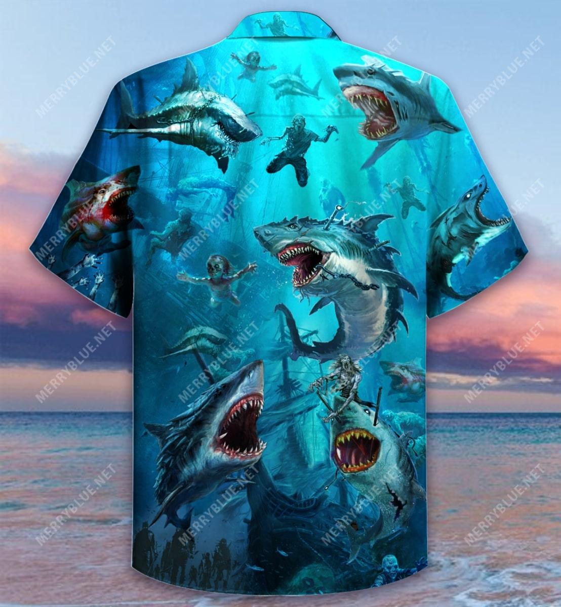 sharks and zombies all over printed hawaiian shirt 4