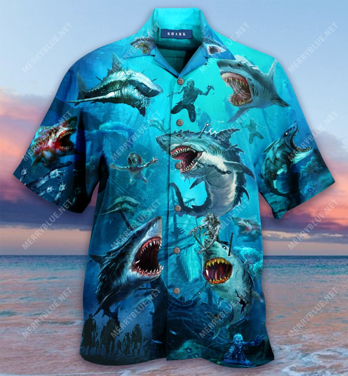 sharks and zombies all over printed hawaiian shirt 5