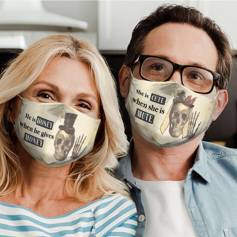 she is cute when she is mute for couple love all over print face mask 4
