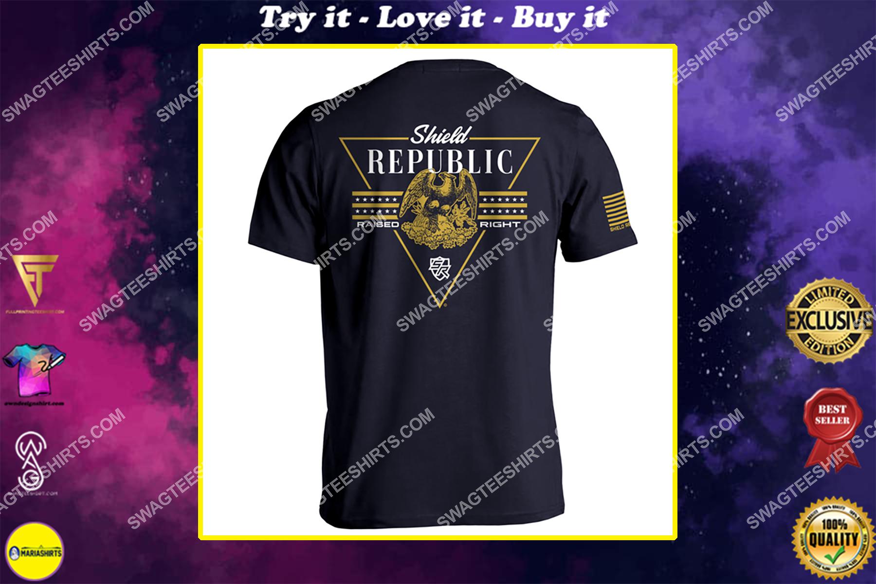 shield republic raised political full print shirt