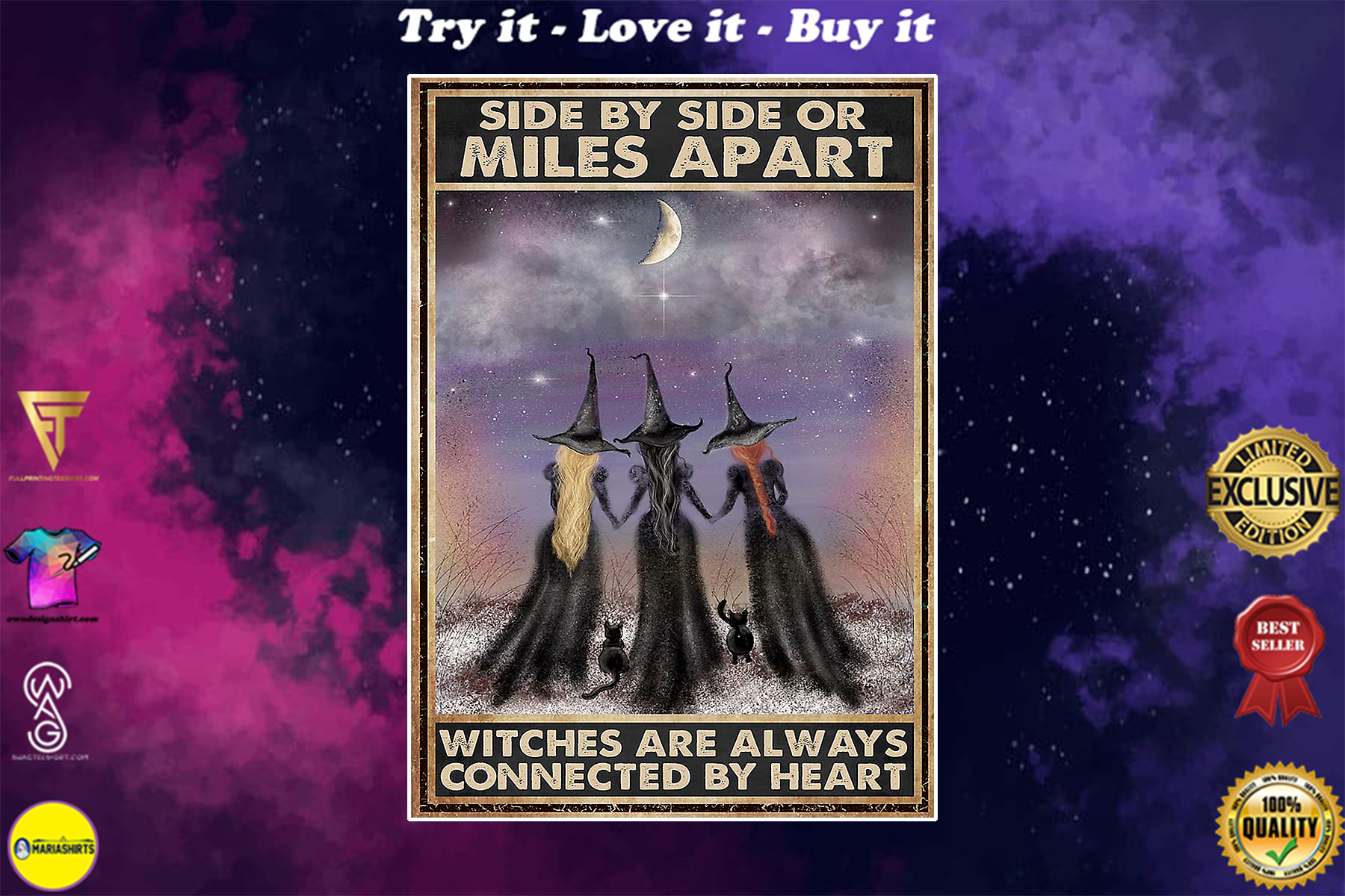 side by side or miles apart witches are always connected by heart vintage poster