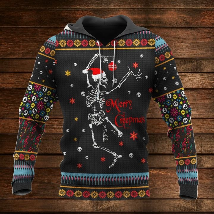 skeleton dancing and merry christmas full printing hoodie