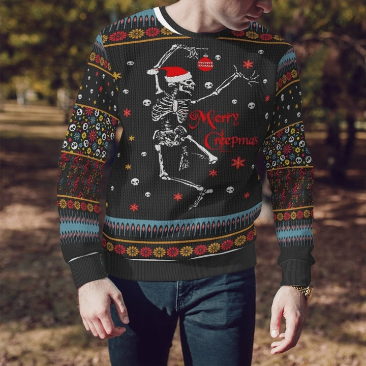 skeleton dancing and merry christmas full printing sweater