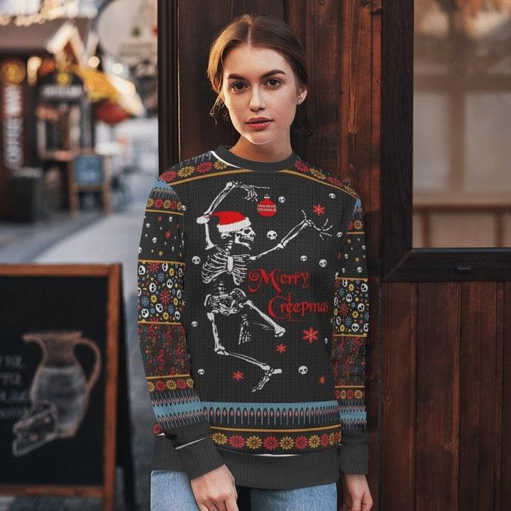 skeleton dancing and merry christmas full printing sweatshirt