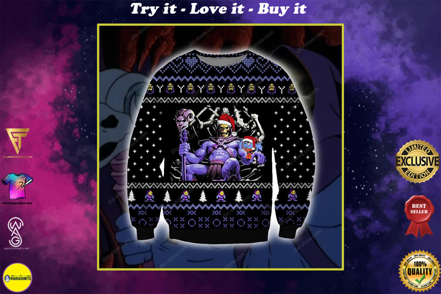 skeletor he-man ugly christmas sweater