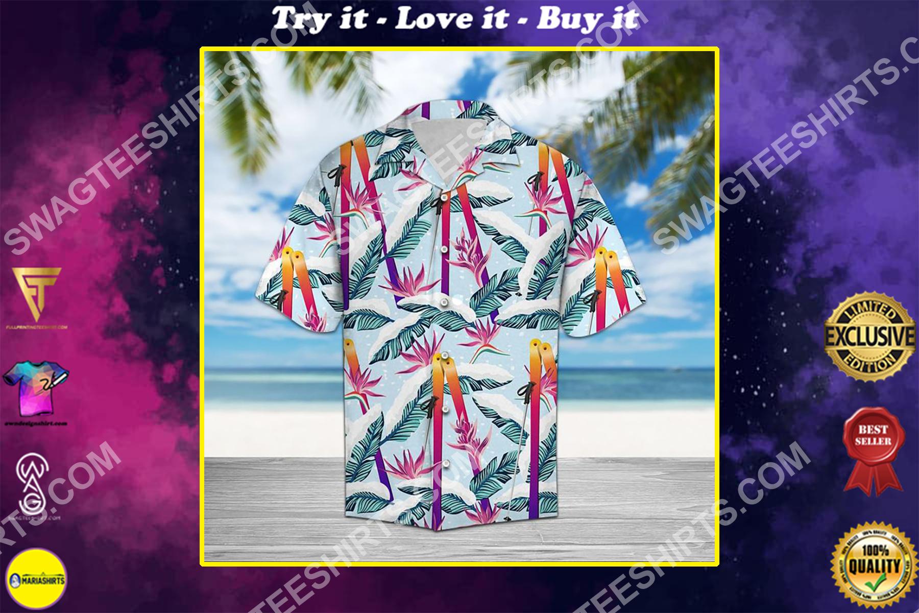 skiing palm all over printed hawaiian shirt