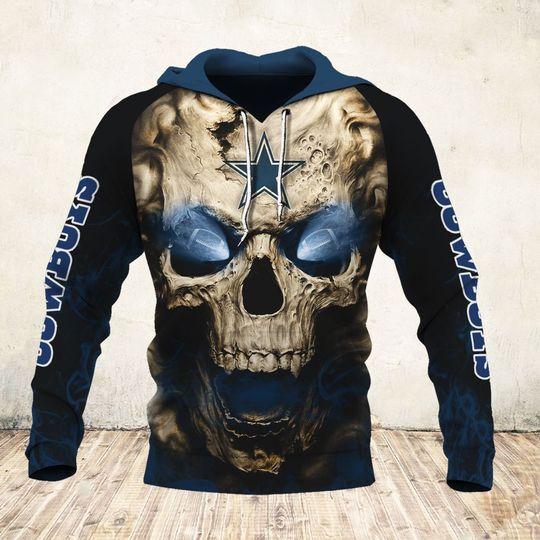 skull and dallas cowboys football team full over printed hoodie