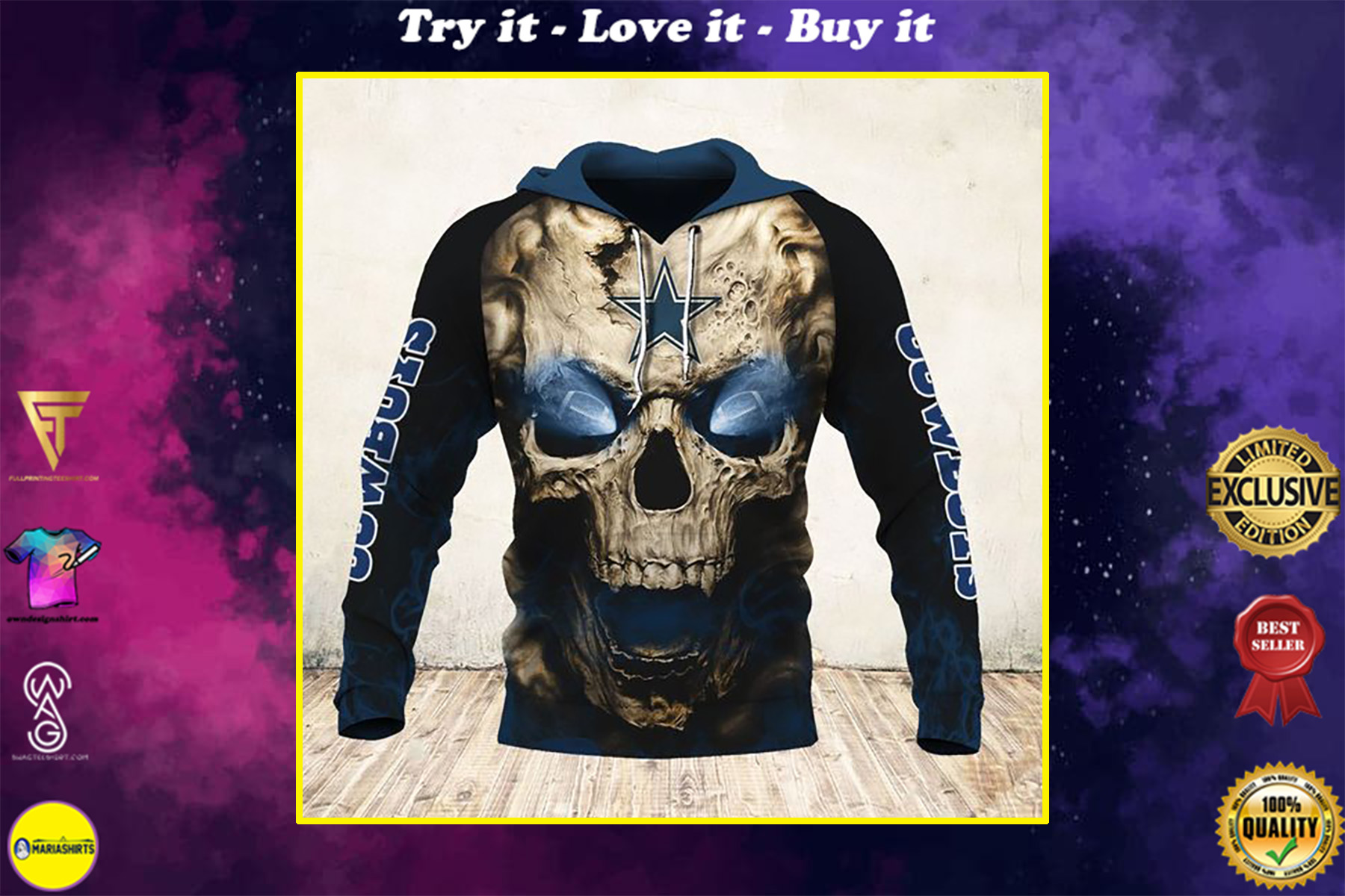 skull and dallas cowboys football team full over printed shirt