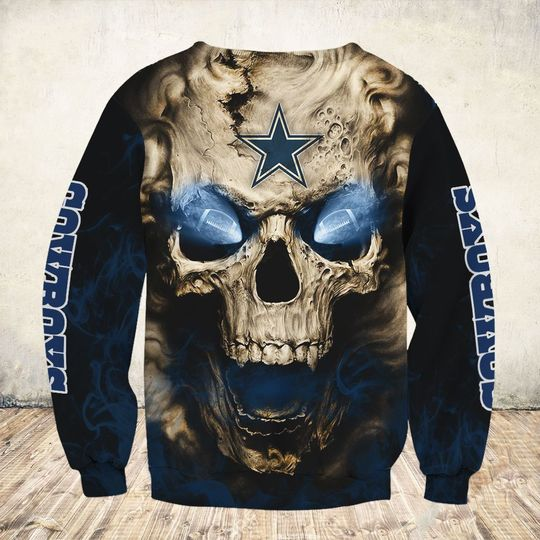 skull and dallas cowboys football team full over printed sweatshirt - back