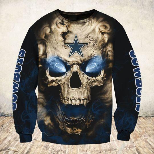 skull and dallas cowboys football team full over printed sweatshirt