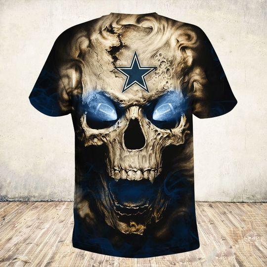 skull and dallas cowboys football team full over printed tshirt - back