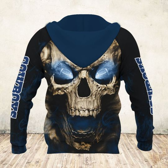skull and dallas cowboys football team full over printed zip hoodie - back