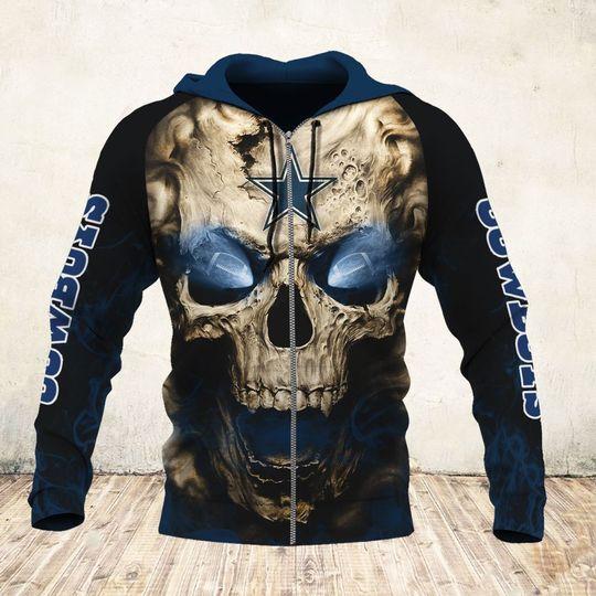 skull and dallas cowboys football team full over printed zip hoodie