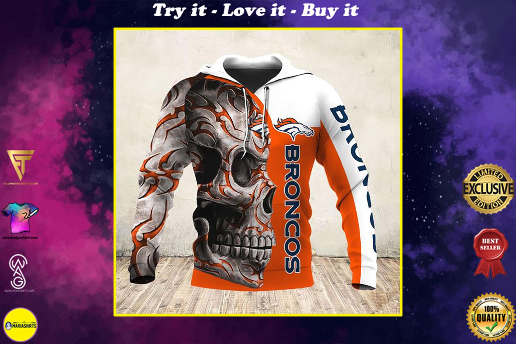 skull and denver broncos football team full over printed shirt