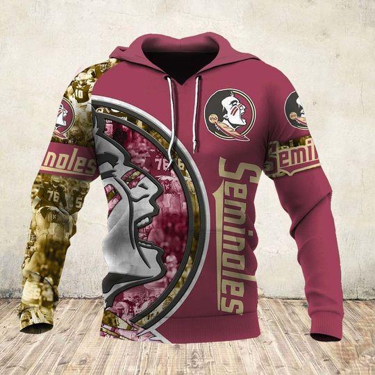 skull and florida state seminoles football team full over printed hoodie