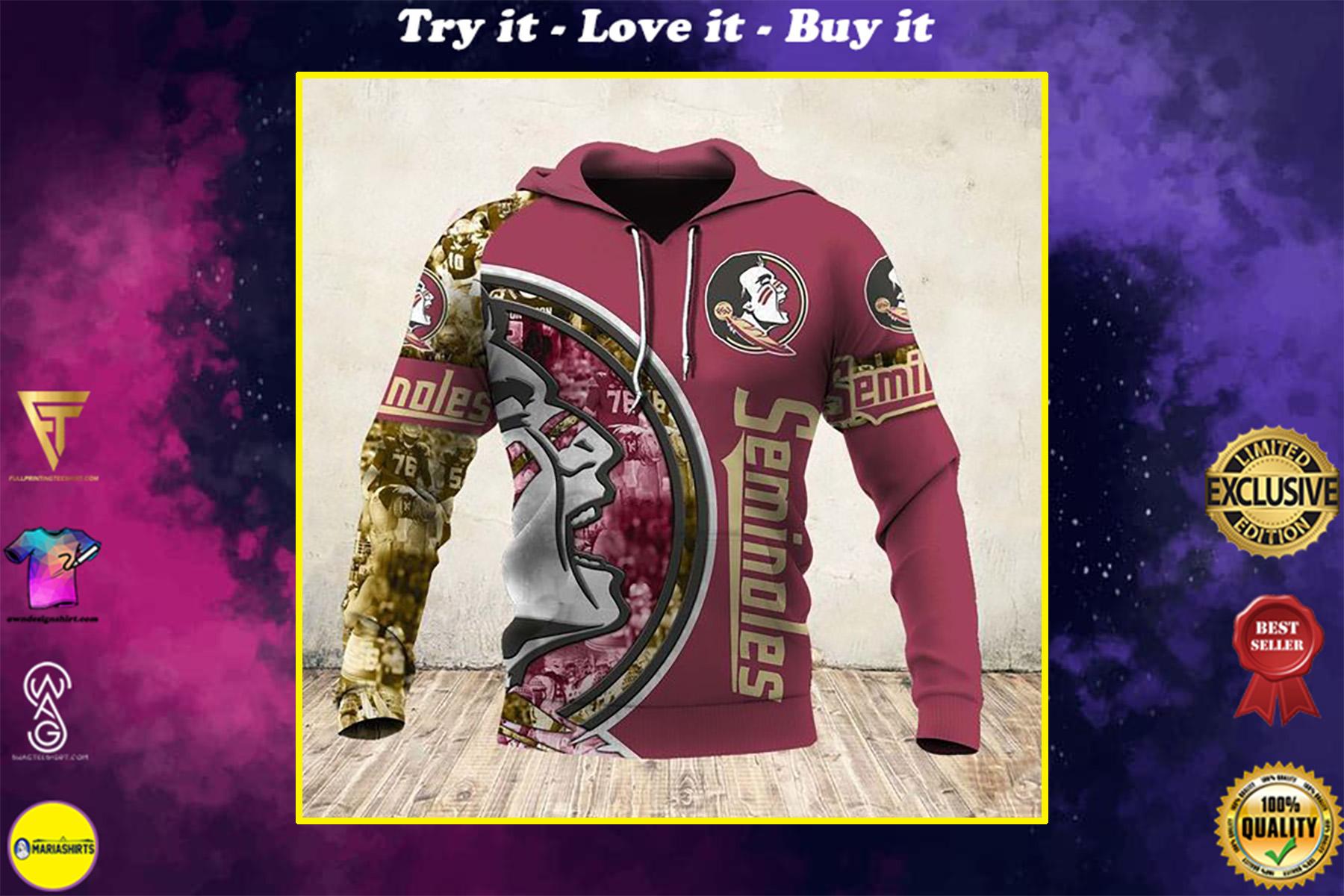 skull and florida state seminoles football team full over printed shirt