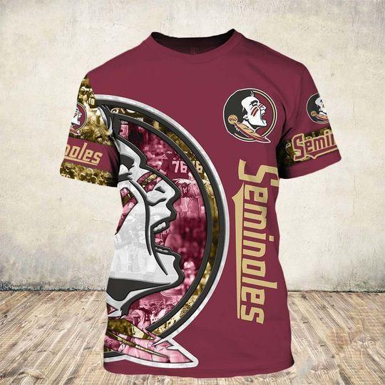 skull and florida state seminoles football team full over printed tshirt
