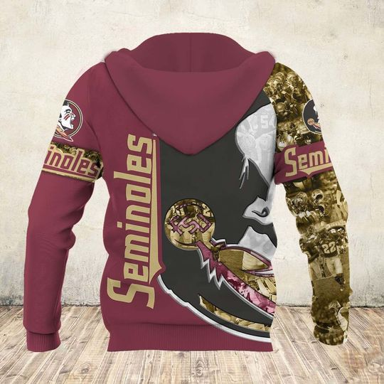 skull and florida state seminoles football team full over printed zip hoodie - back