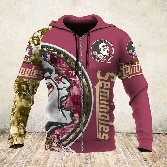skull and florida state seminoles football team full over printed zip hoodie