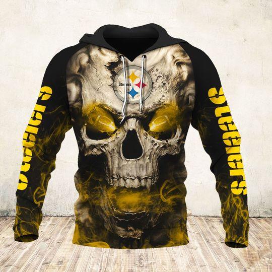 skull and pittsburgh steelers football team full over printed hoodie