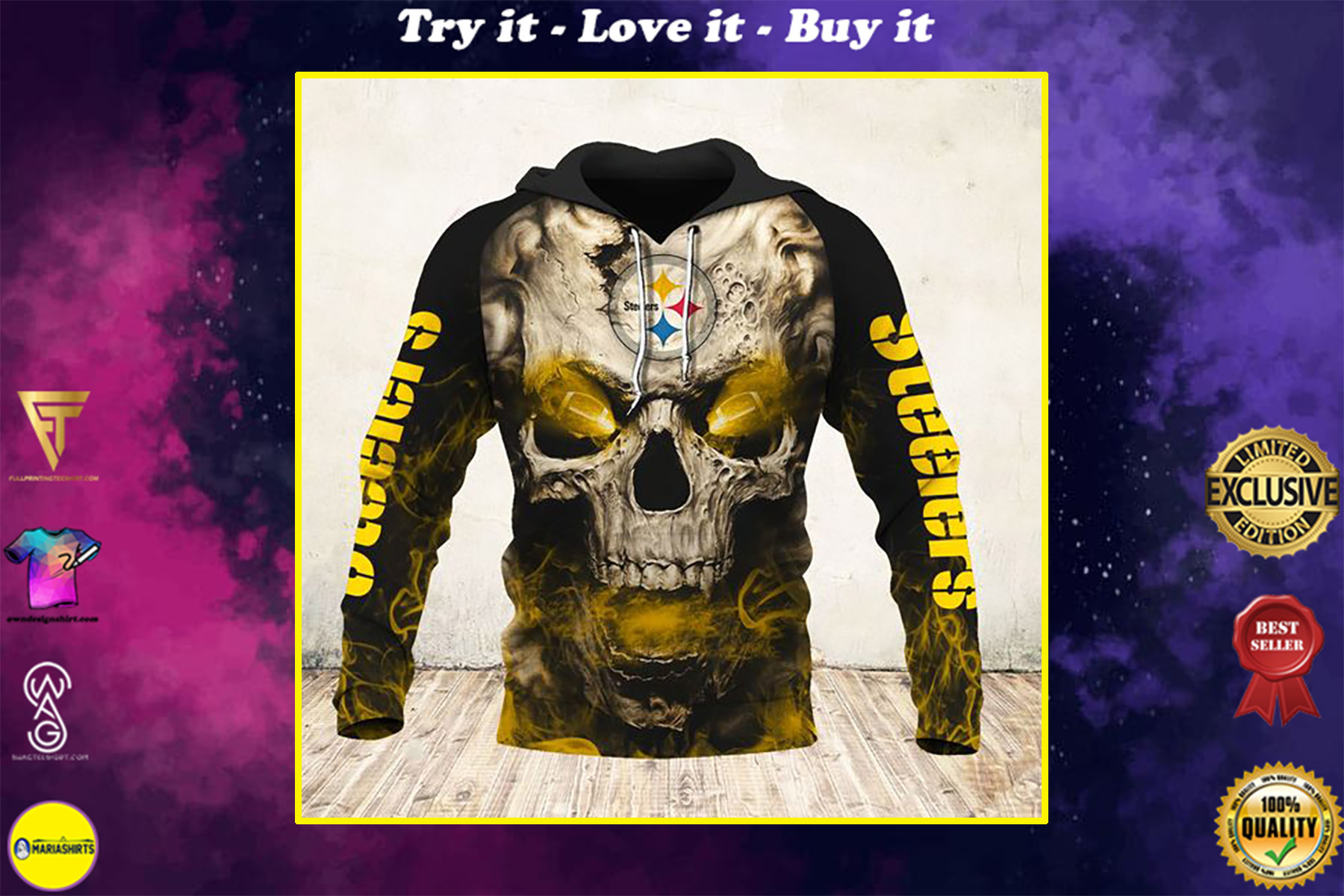 skull and pittsburgh steelers football team full over printed shirt