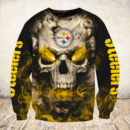 skull and pittsburgh steelers football team full over printed sweatshirt
