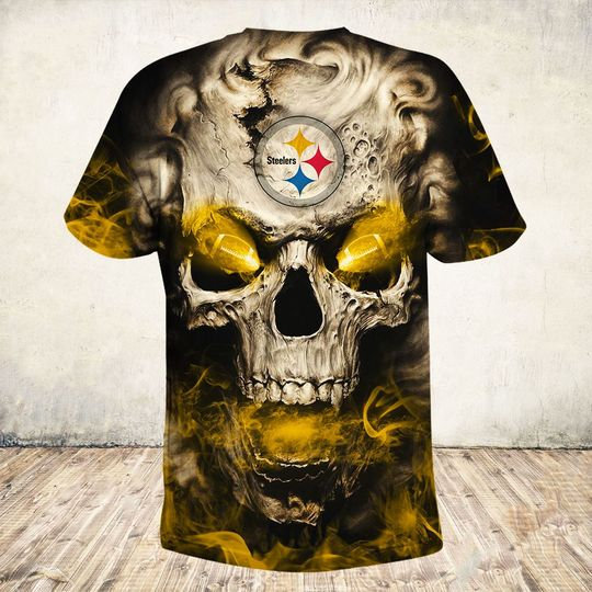 skull and pittsburgh steelers football team full over printed tshirt - back