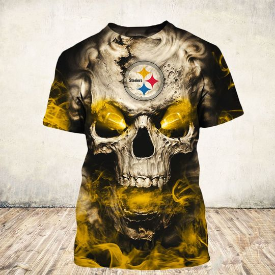 skull and pittsburgh steelers football team full over printed tshirt