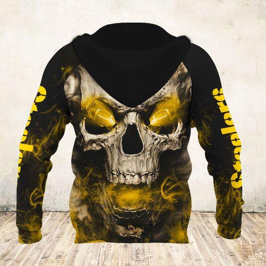 skull and pittsburgh steelers football team full over printed zip hoodie - back