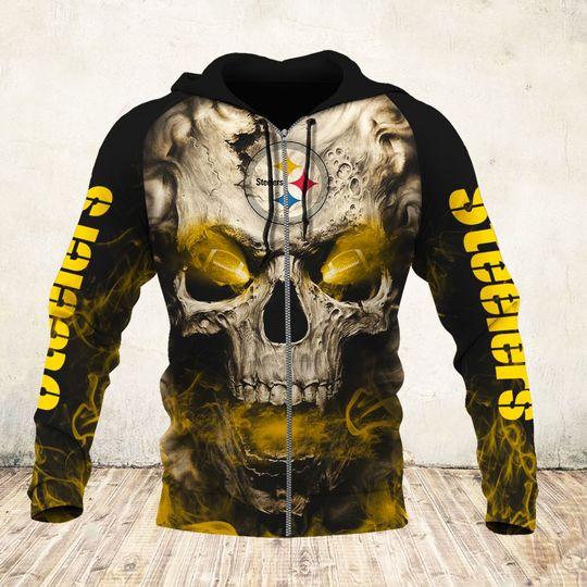 skull and pittsburgh steelers football team full over printed zip hoodie