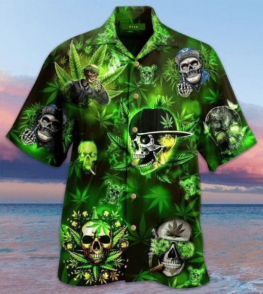 skull and weed all over printed hawaiian shirt 5