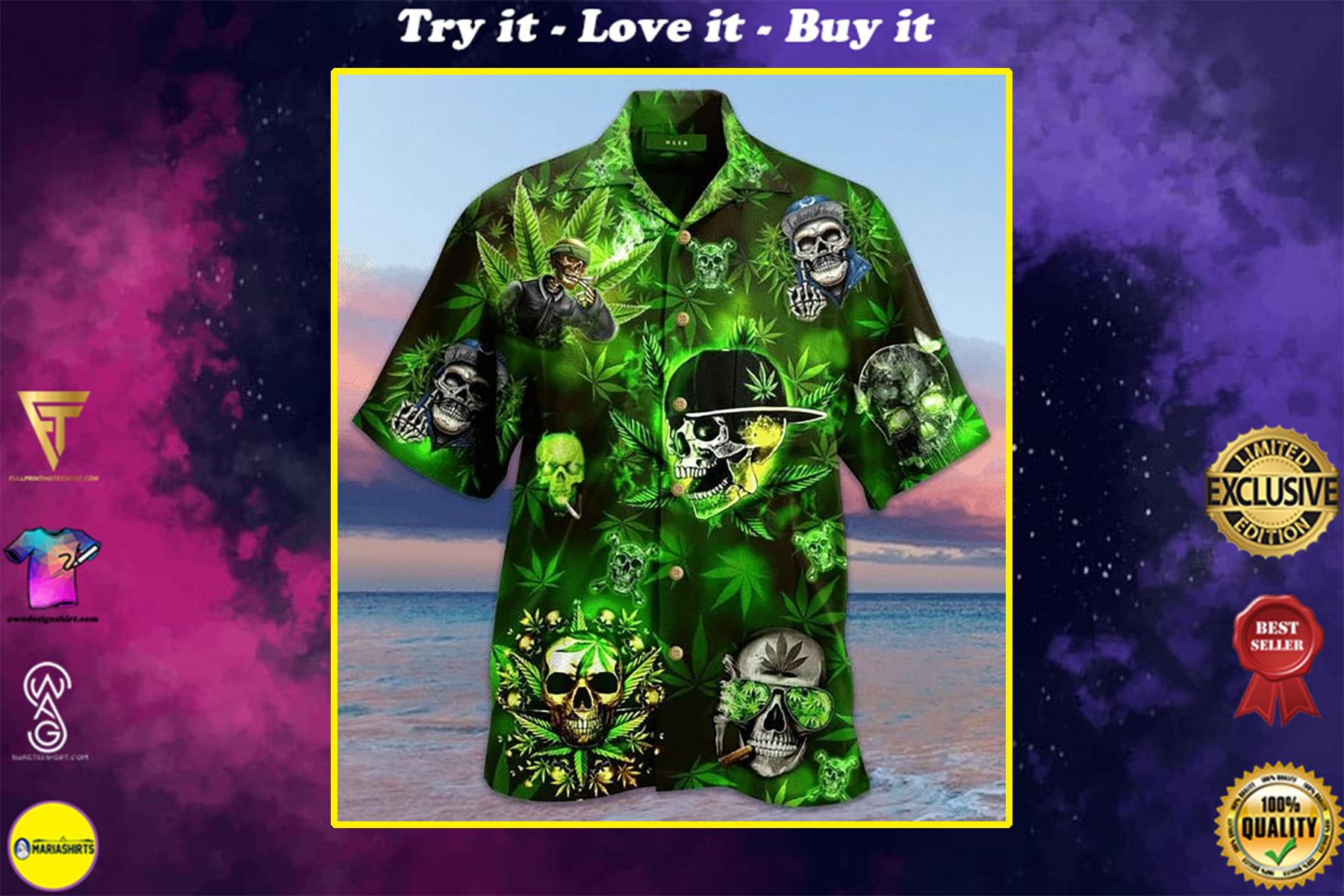 skull and weed all over printed hawaiian shirt