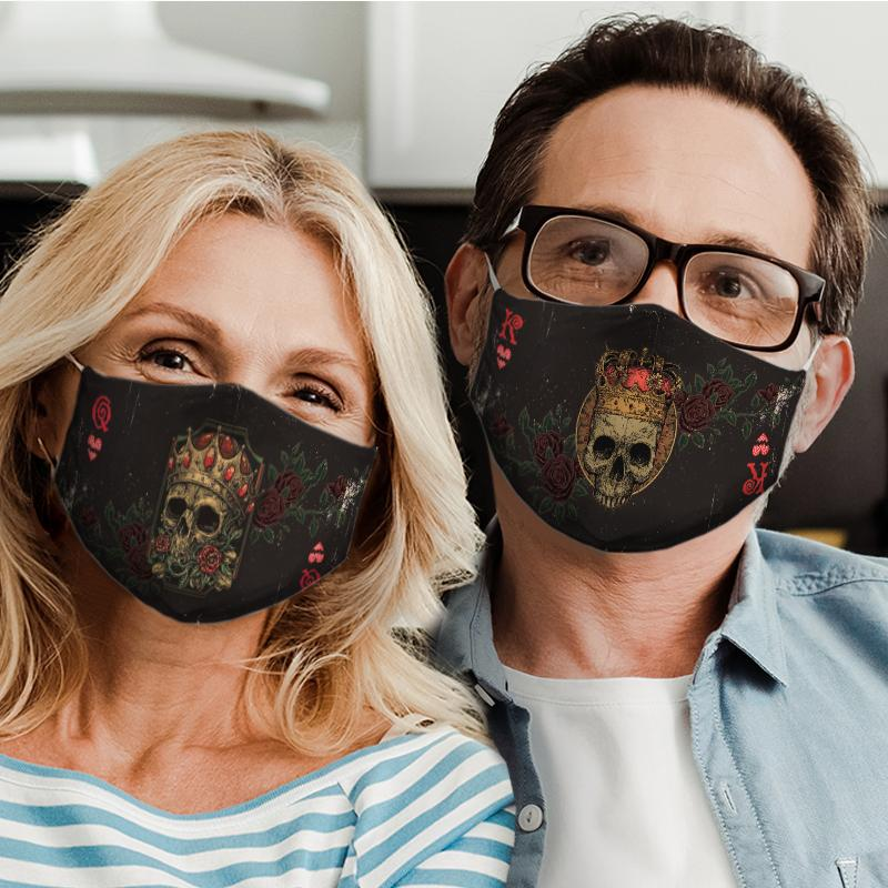 skull cards for couple love all over print face mask 4