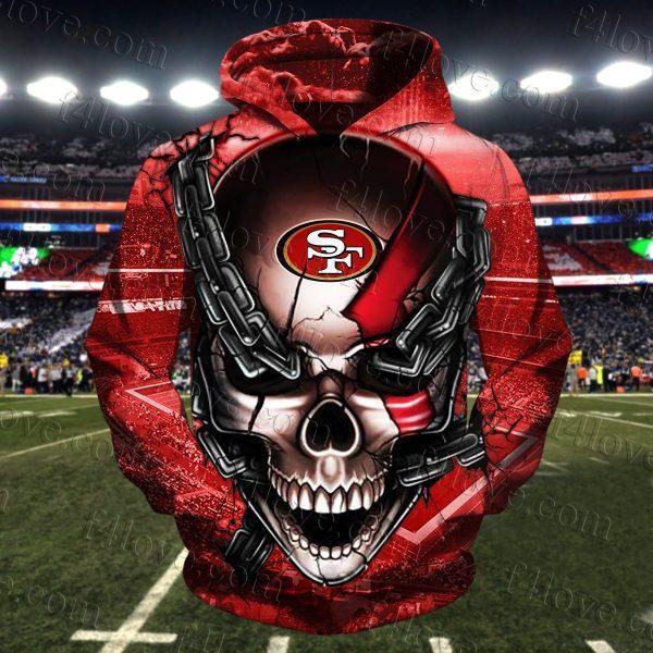 skull chain san francisco 49ers football team full over printed hoodie