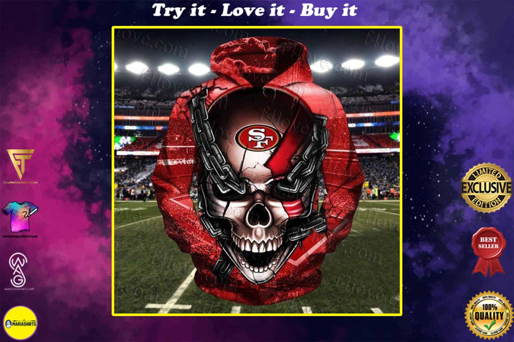 skull chain san francisco 49ers football team full over printed shirt
